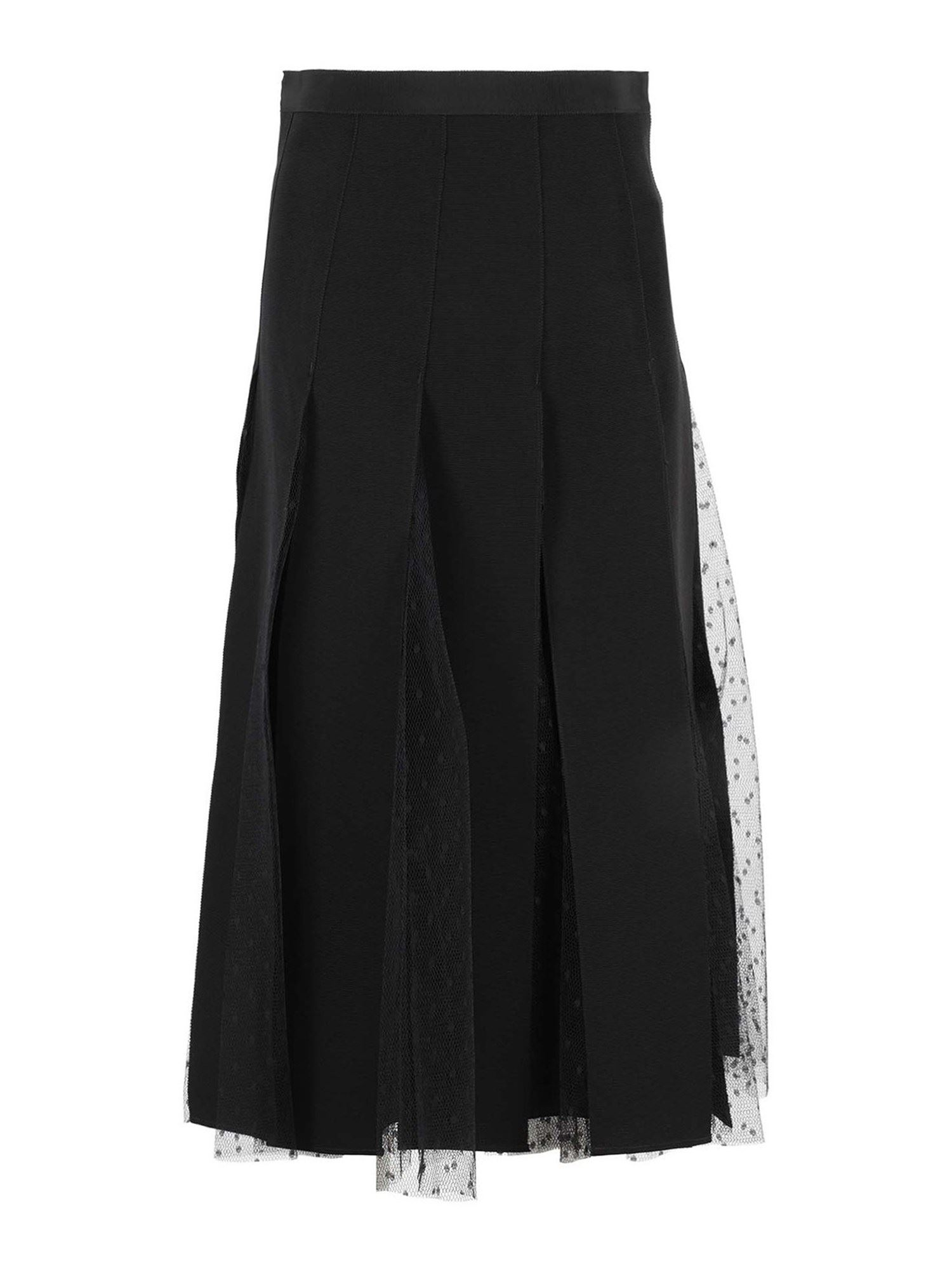 Red Valentino PLEATED SKIRT WITH TULLE DETAILS IN BLACK