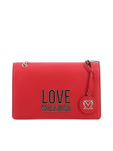 Love Moschino - Gold Metal Logo faux leather bag in red