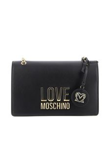 Love Moschino - Gold Metal Logo faux leather bag in black