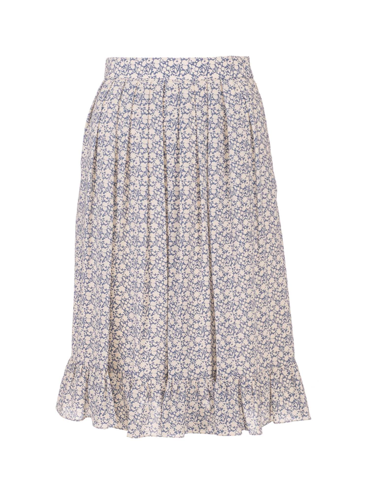 Celine FLORAL PLEATED SKIRT IN LIGHT BLUE AND WHITE