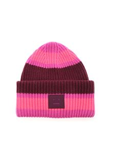 Acne Studios - Striped beanie in pink and burgundy color