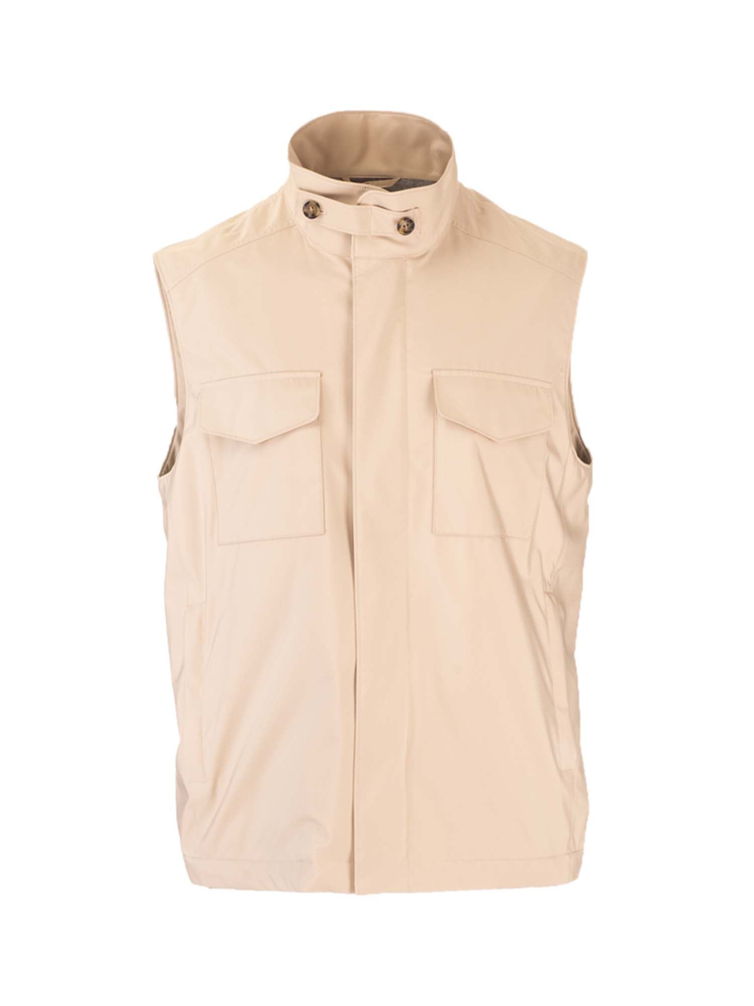 Loro Piana TRAVELER WINDMATE WAISTCOAT IN SAND SHELL