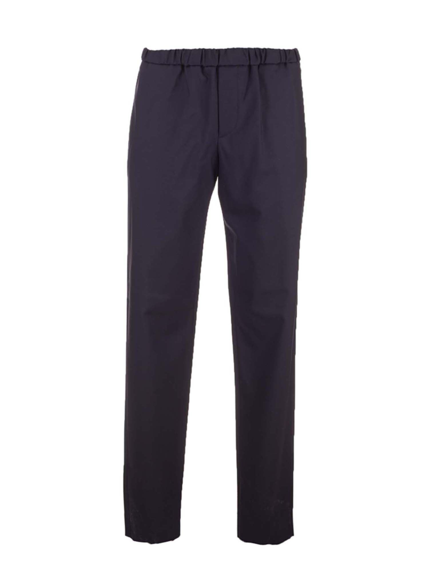 Loro Piana LEISURE FLAT TROUSERS IN NAVY BLUE