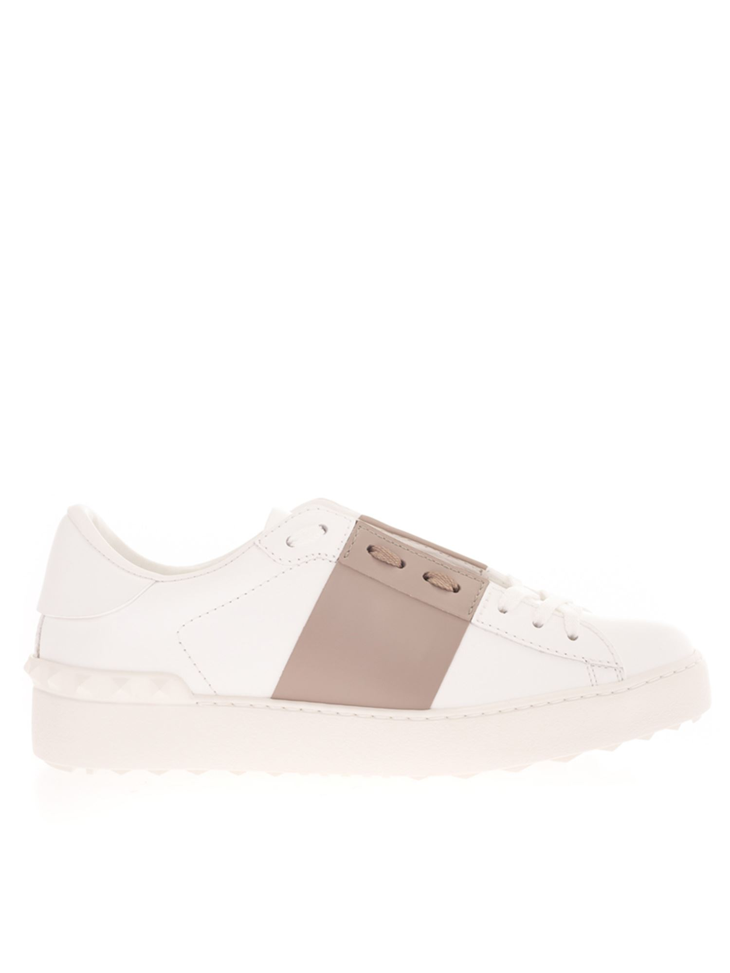 Valentino OPEN SNEAKERS IN WHITE AND BEIGE