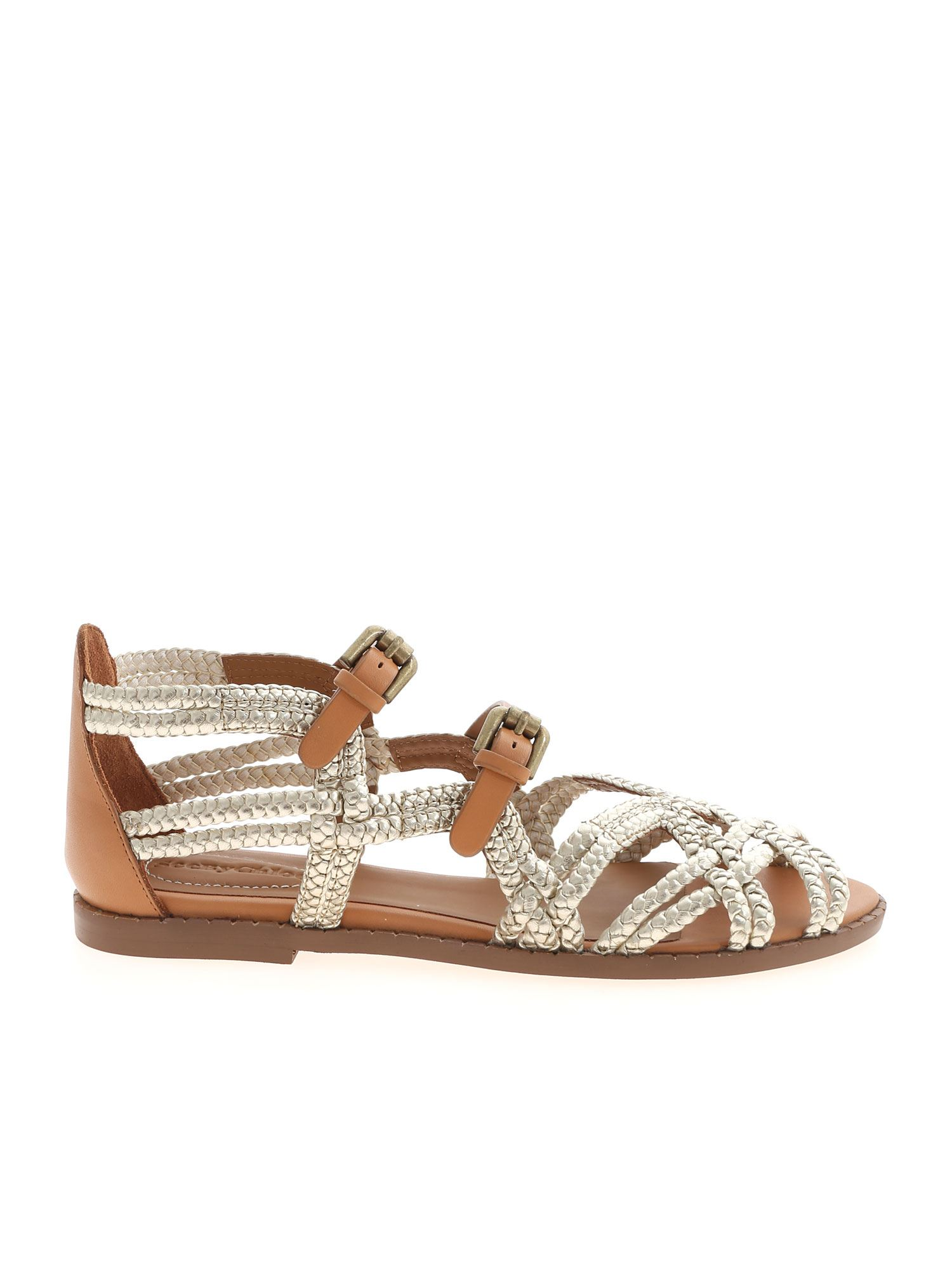 See By Chloé ADRIA SANDALS IN PLATINUM AND LEATHER COLOR