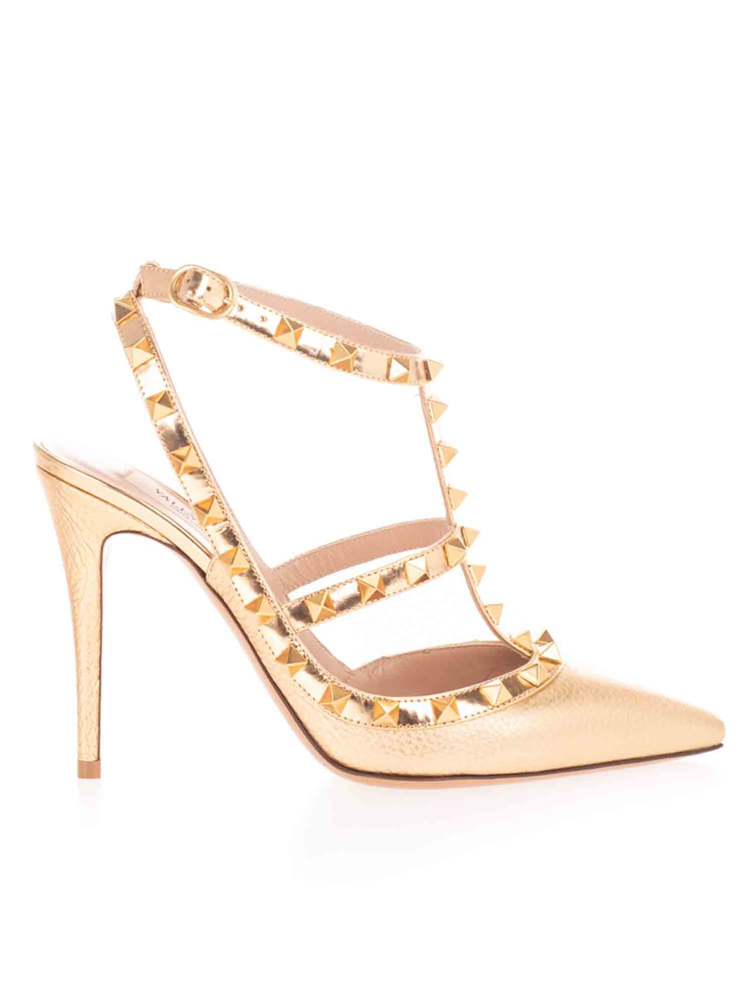 Valentino ROCKSTUD PUMPS 10 IN ANTIQUE BRASS COLOR