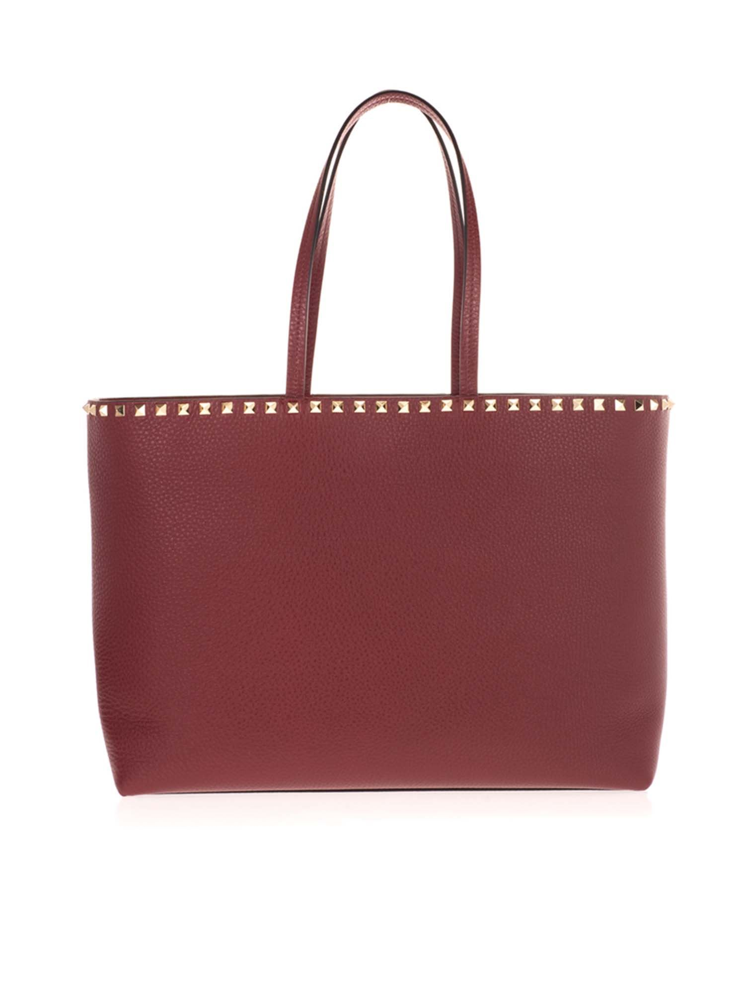 Valentino ROCKSTUD SHOPPING BAG IN CERISE COLOR