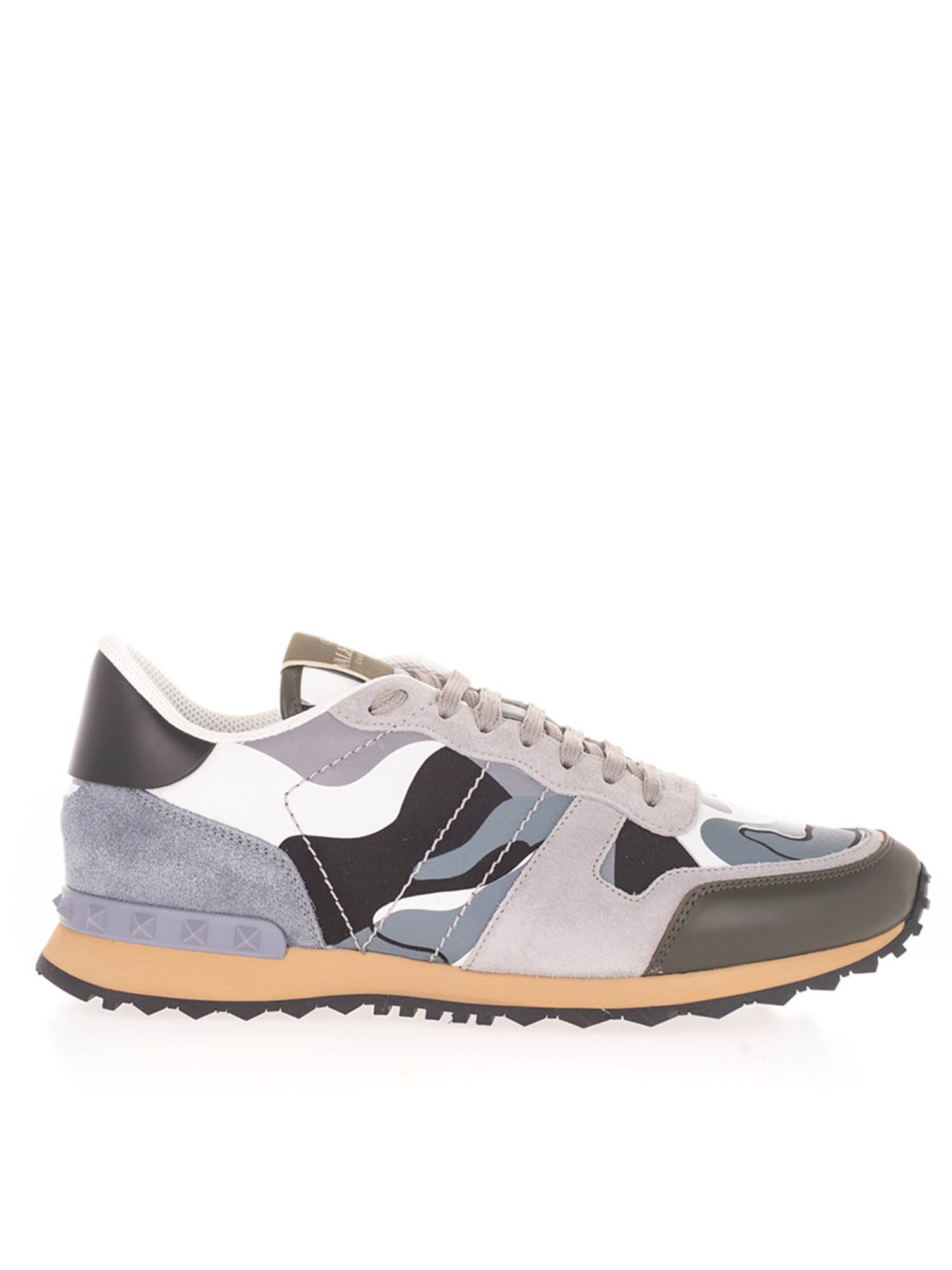Valentino ROCKRUNNER CAMOUFLAGE SNEAKERS IN GRAY