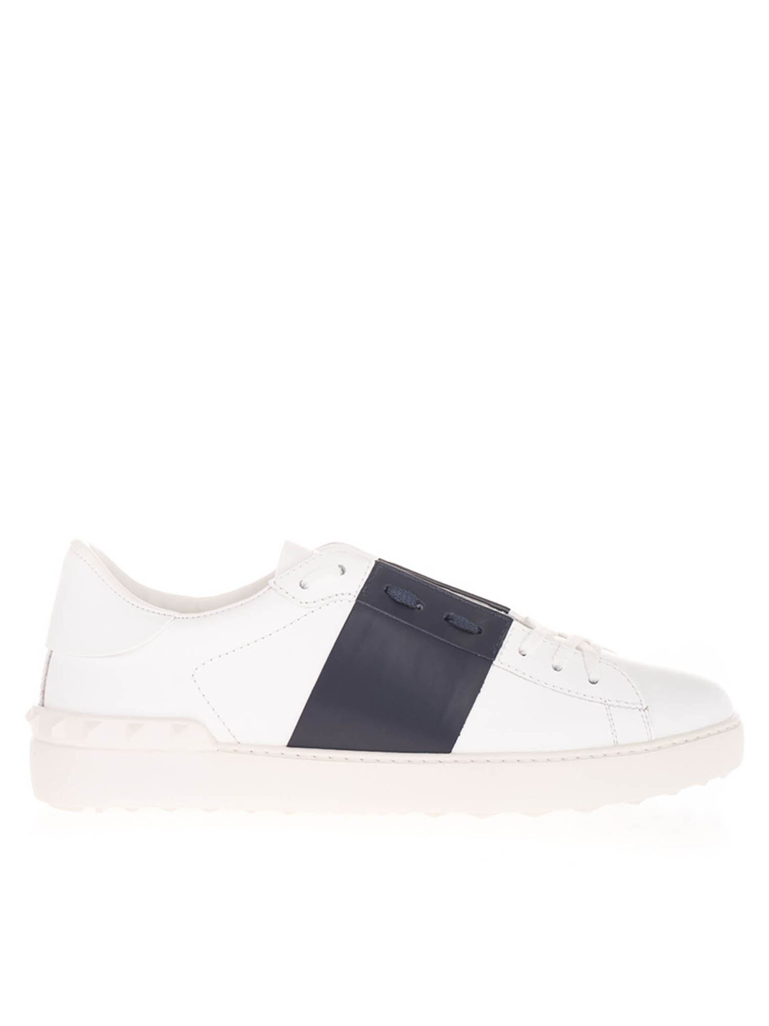 Valentino OPEN SNEAKERS IN WHITE AND MARINE BLUE