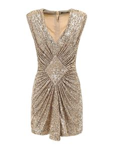 Balmain - Short pleated dress in gold color