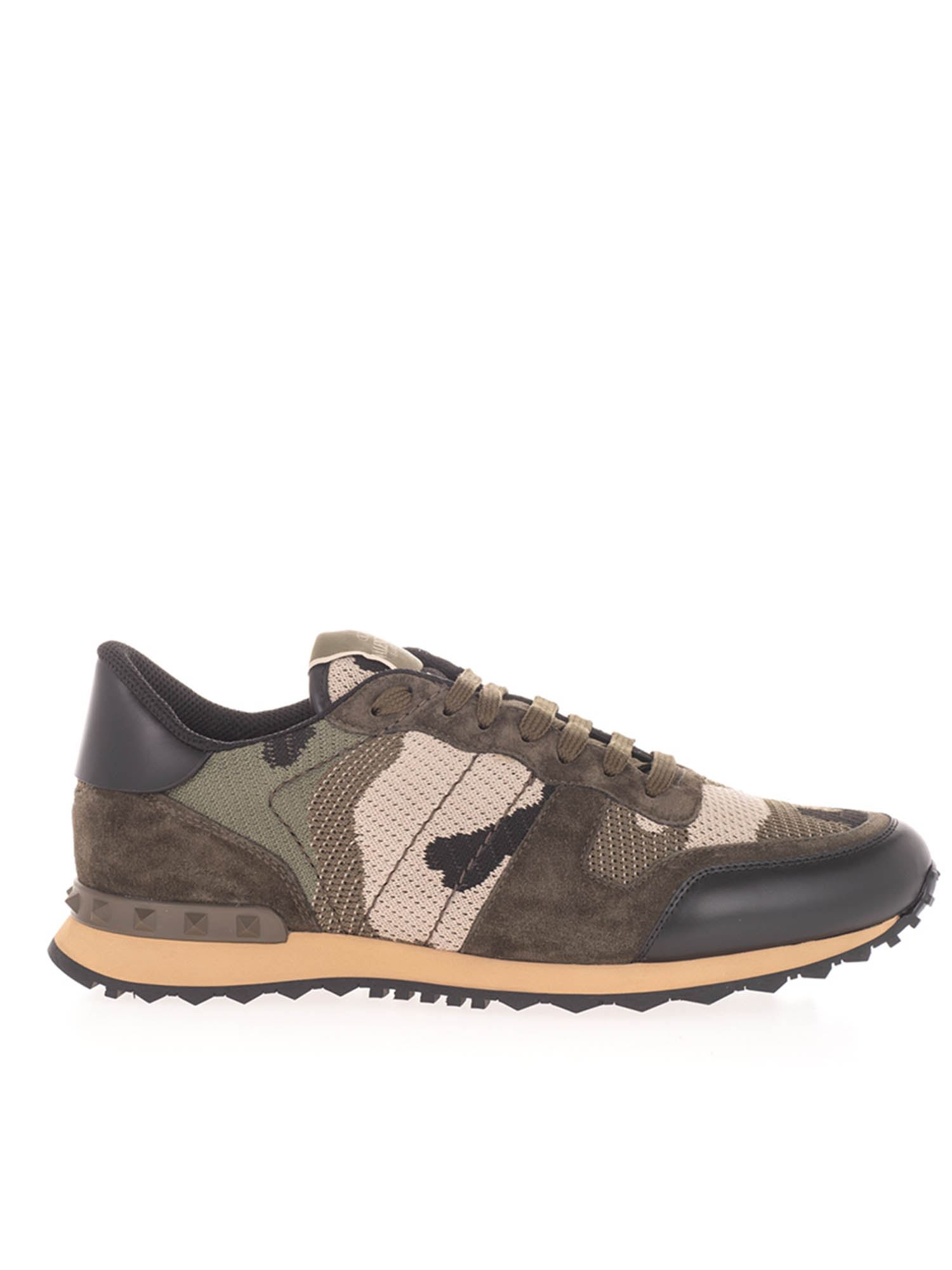 Valentino ROCKRUNNER CAMOU SNEAKERS IN MILITARY GREEN