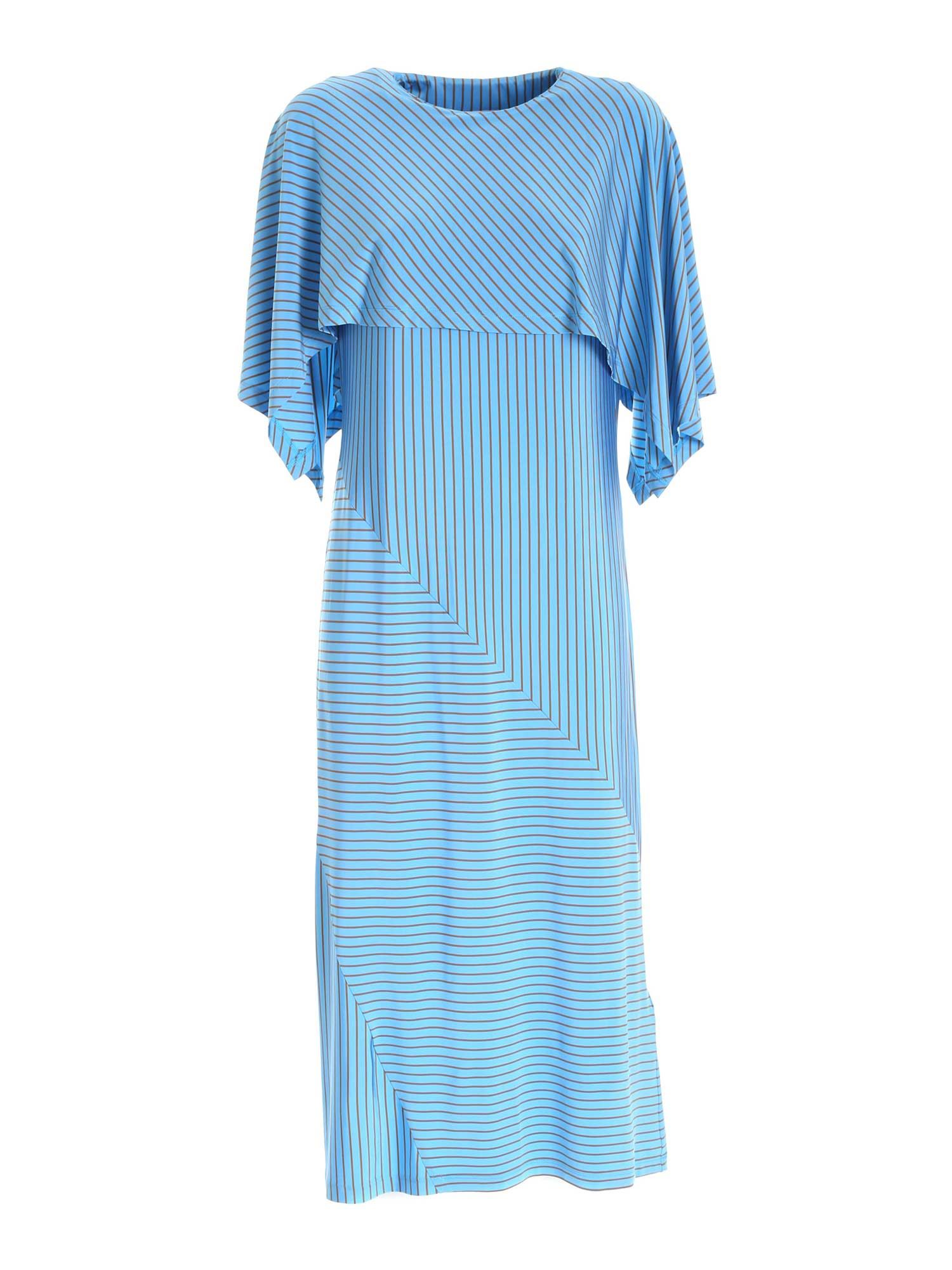 Mm6 Maison Margiela LONG DRESS WITH STRIPED PATTERN IN LIGHT BLUE