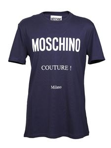 Moschino - White logo t-shirt in blue