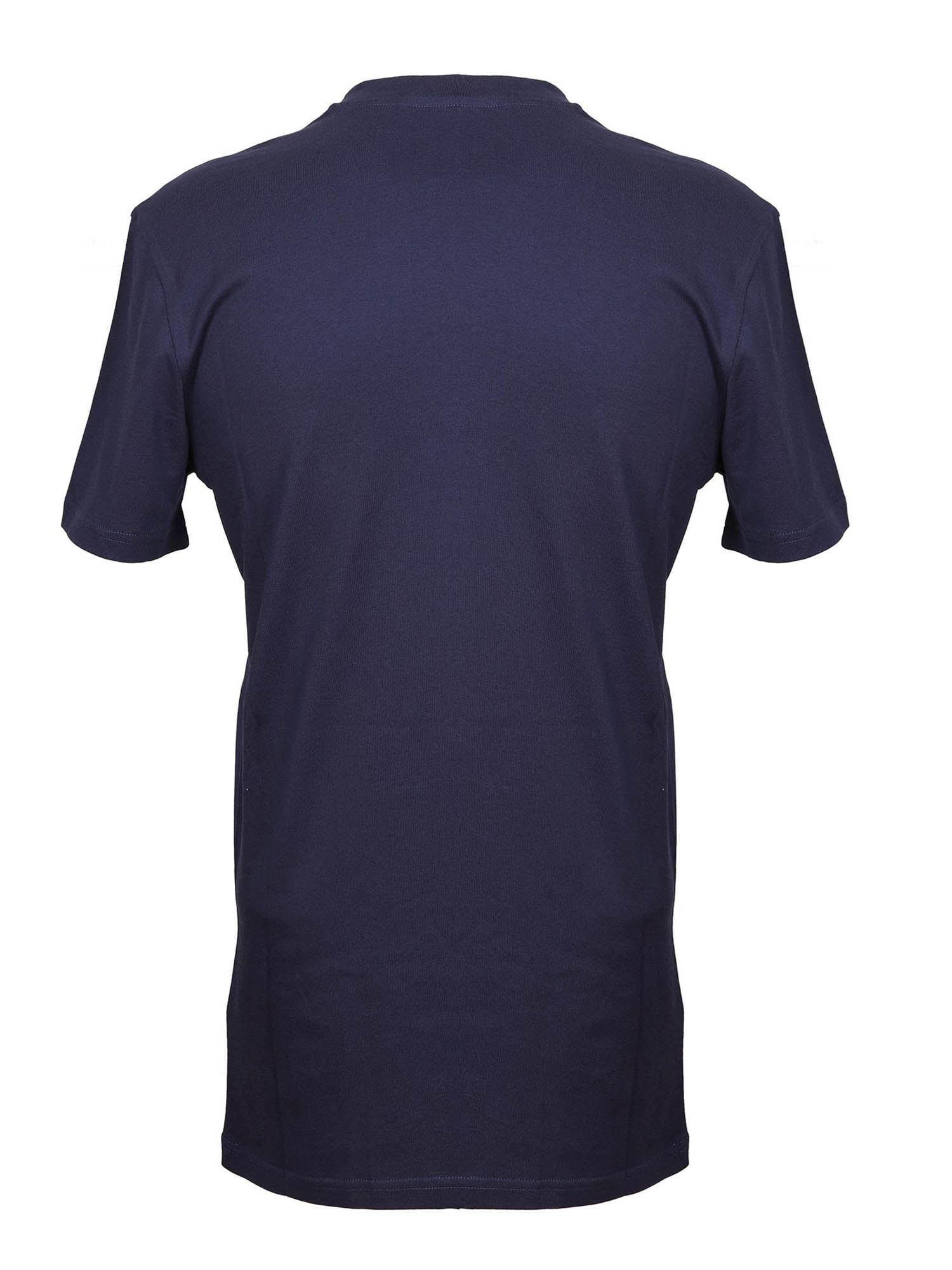 MOSCHINO Cottons WHITE LOGO T-SHIRT IN BLUE