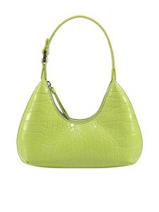 By Far - Baby Amber croc print leather bag in green