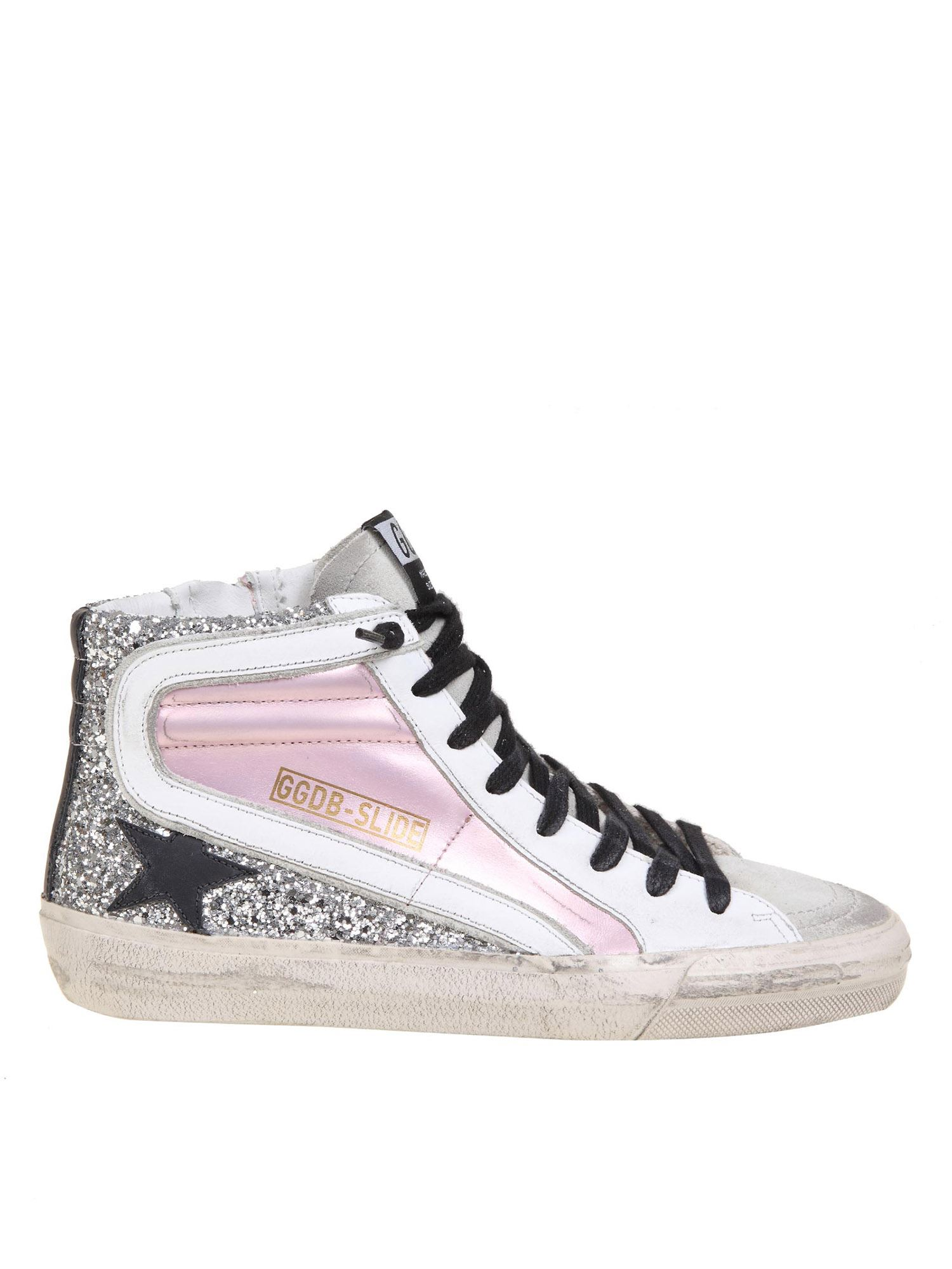 Golden Goose SLIDE SNEAKERS IN GLITTER AND PINK