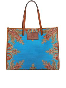 Etro - Jacquard cotton blend tote in blue