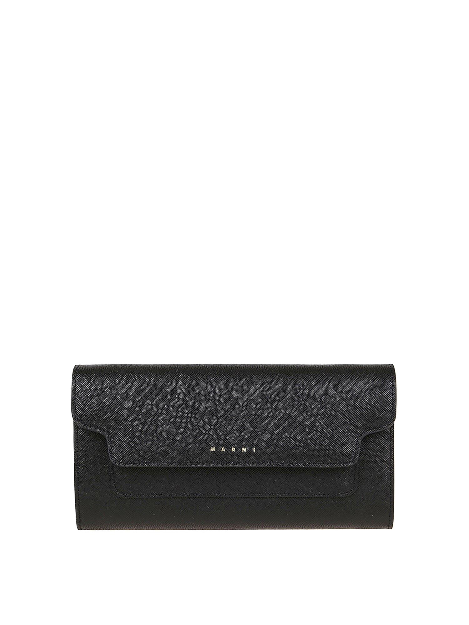 Marni LONG STRAP WALLET IN BLACK