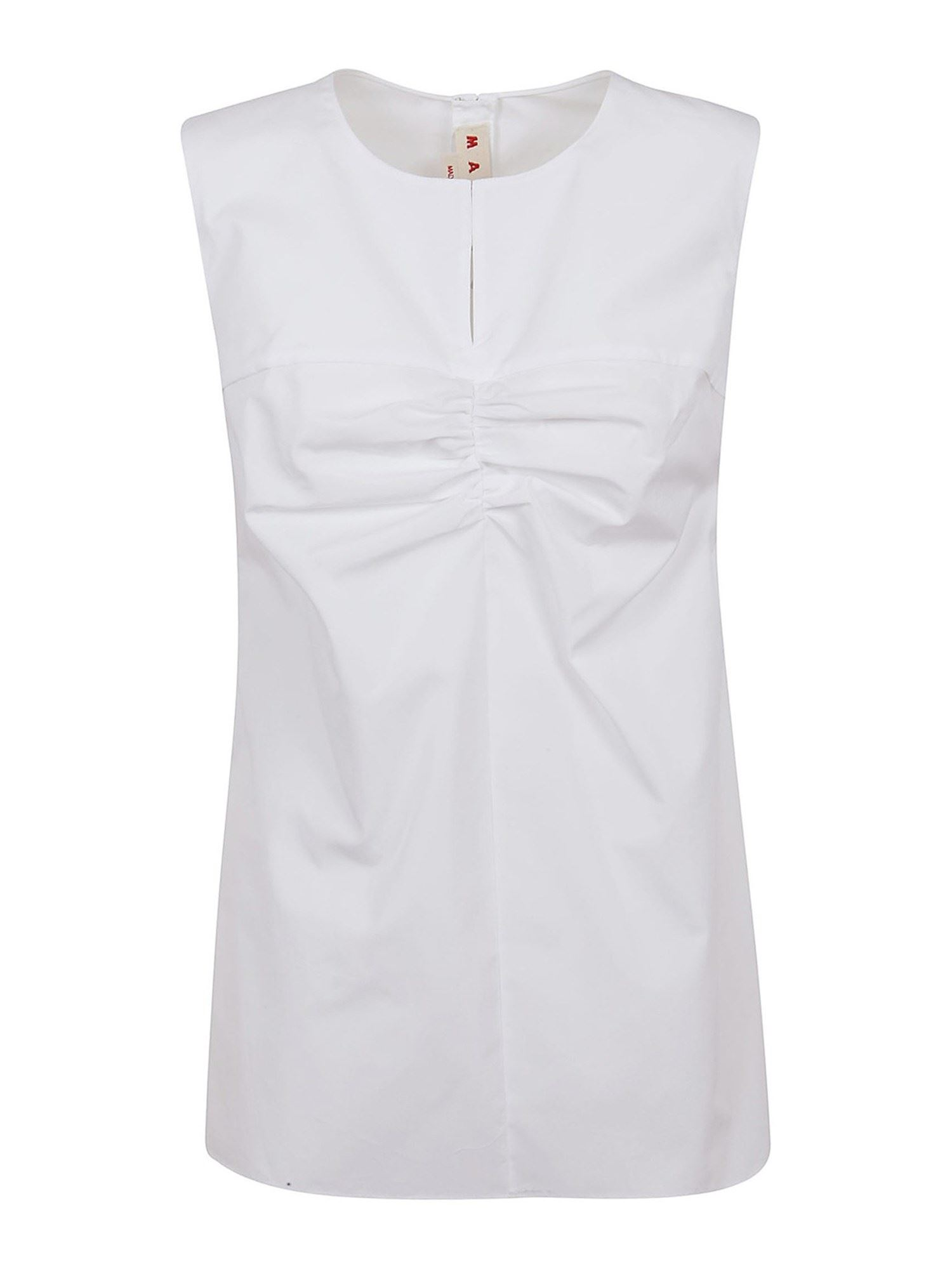 Marni RUCHE DETAILED COTTON TOP IN WHITE
