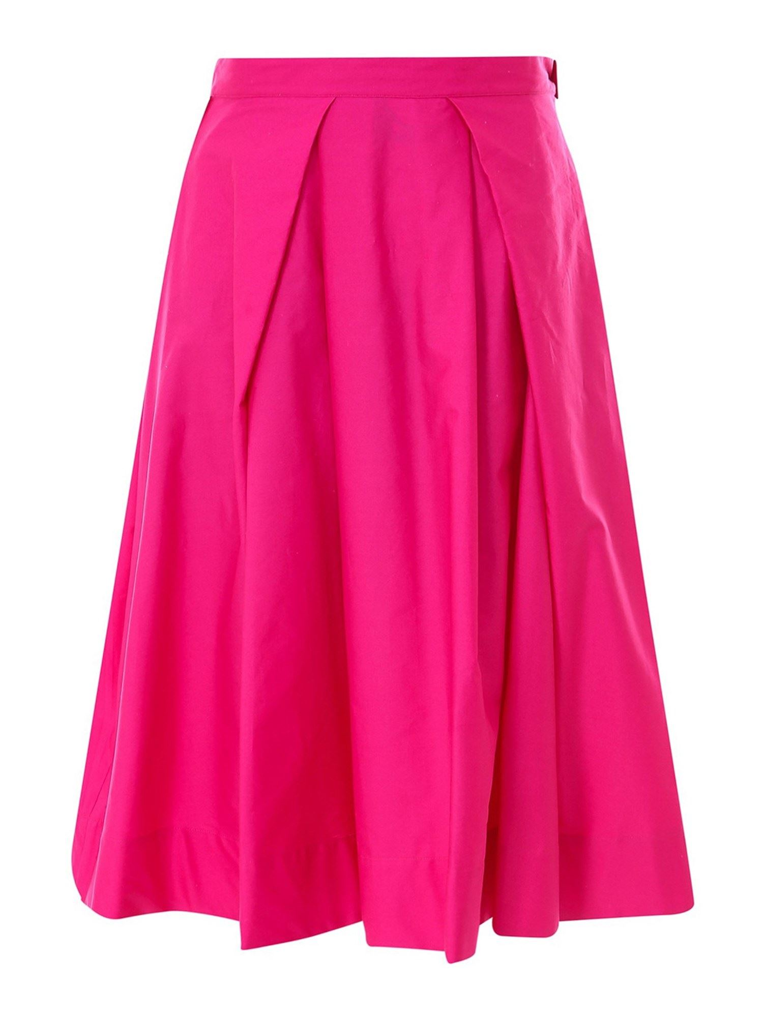 Marni COTTON POPLIN FULL SKIRT IN FUCHSIA