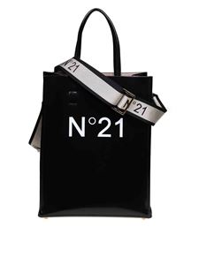 N° 21 - White logo shopper in black