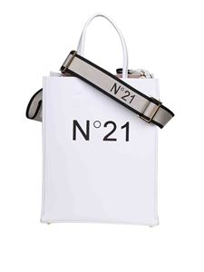 N° 21 - Black logo shopper in white