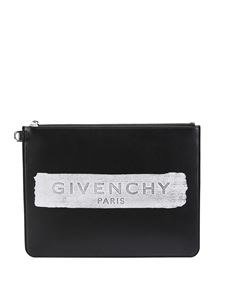Givenchy - Clutch in pelle nera logo stampato