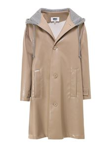 MM6 Maison Margiela - Double fabric hooded trench coat in beige