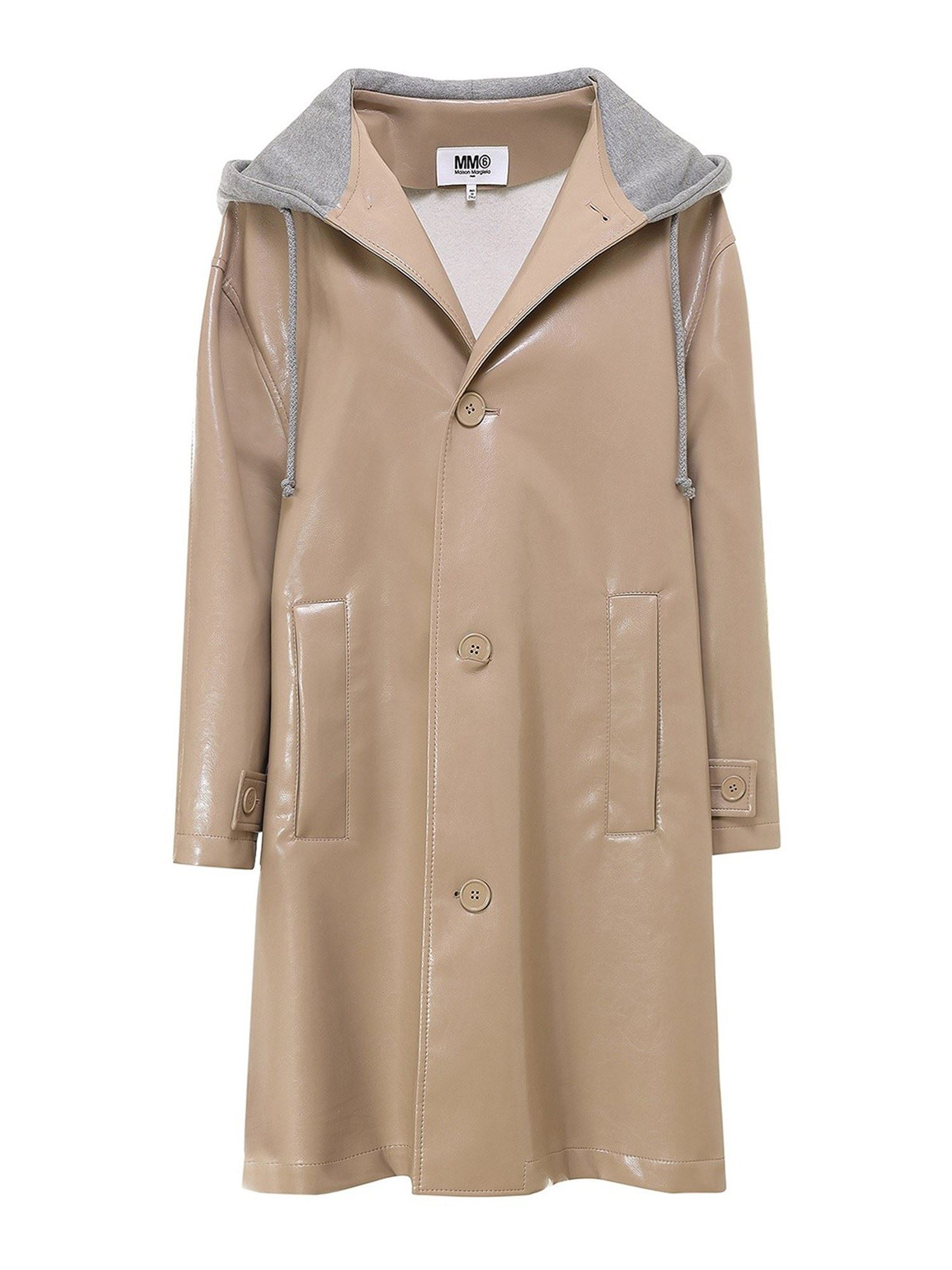 MM6 MAISON MARGIELA DOUBLE FABRIC HOODED TRENCH COAT IN BEIGE