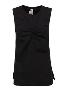 Marni - Ruched cotton top in black