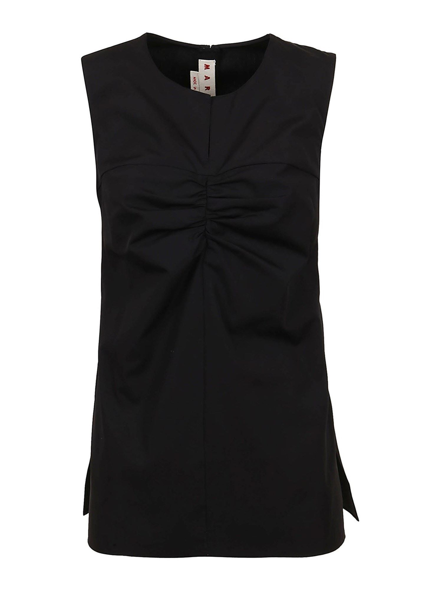 Marni RUCHED COTTON TOP IN BLACK