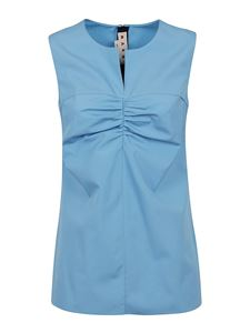 Marni - Ruched cotton top in light blue