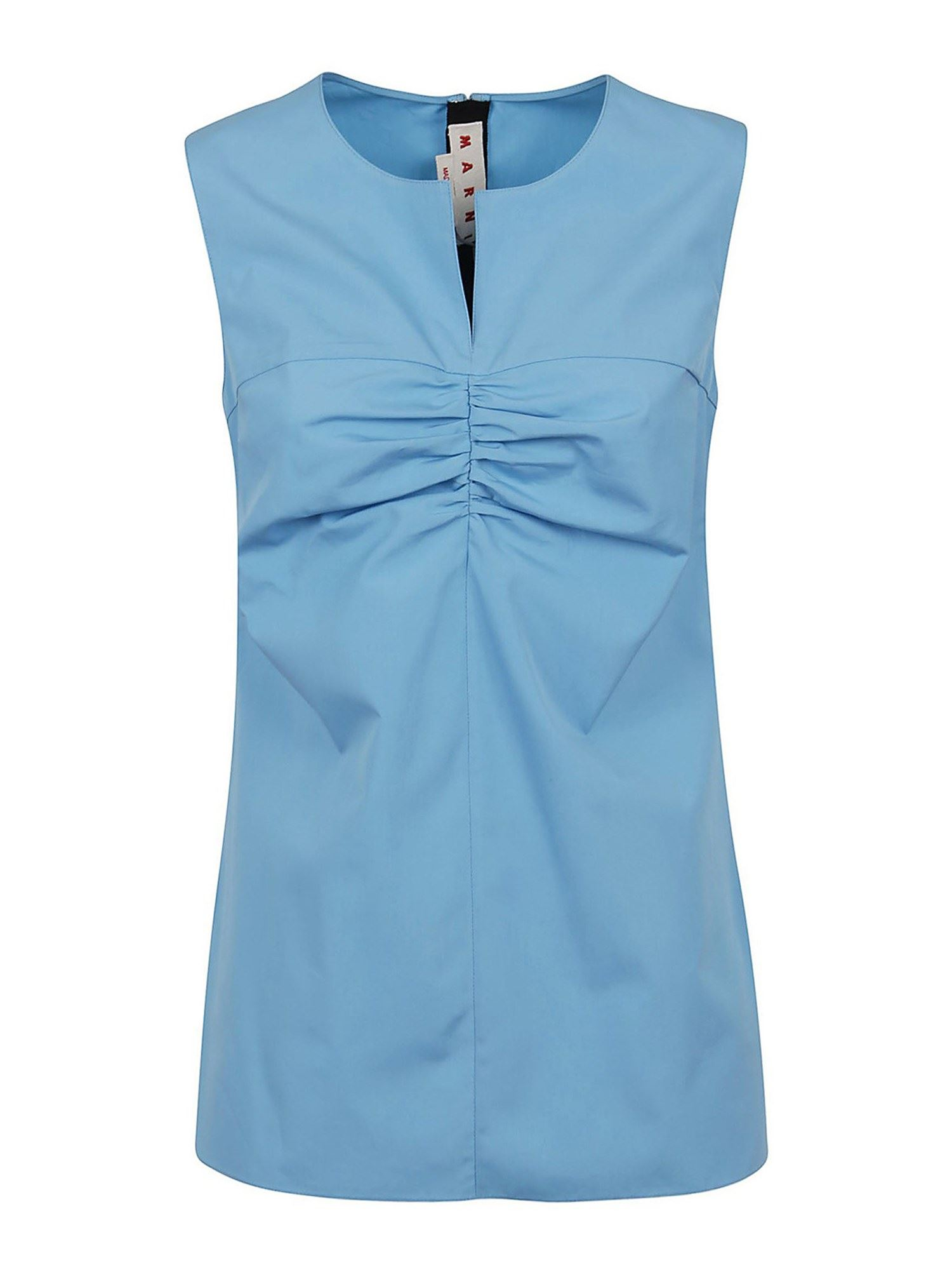Marni RUCHED COTTON TOP IN LIGHT BLUE