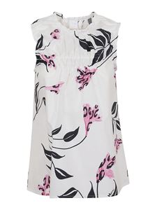 Marni - Floral patterned cotton top in white
