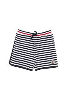 Moncler Jr - Striped shorts in white and blue