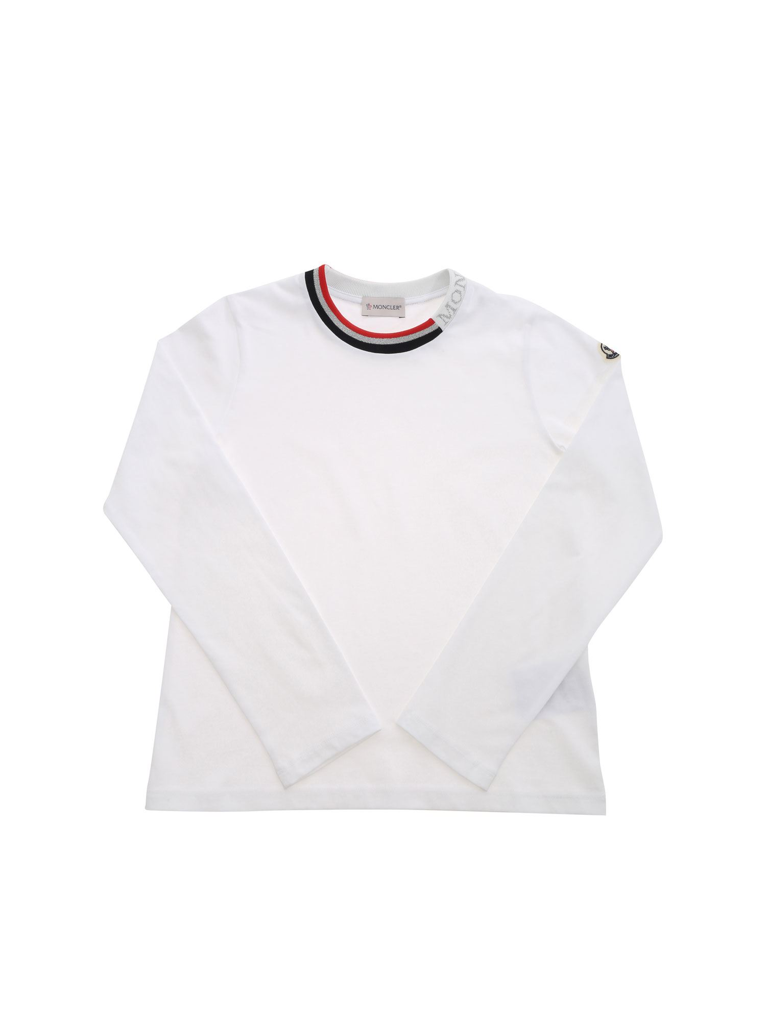 Moncler Jr LAMÉ LOGO T-SHIRT IN WHITE