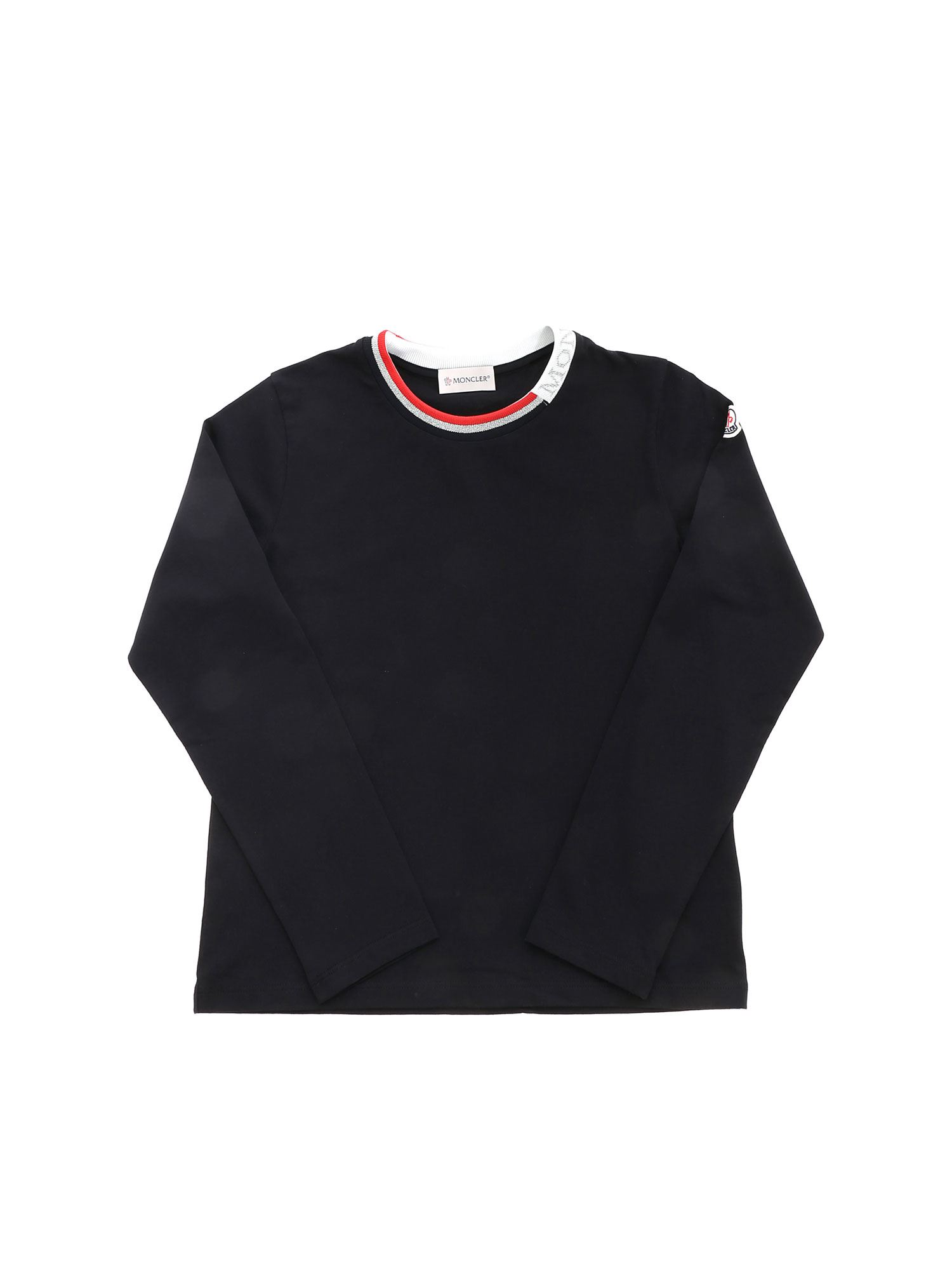 Moncler Jr LAMÉ LOGO T-SHIRT IN BLACK