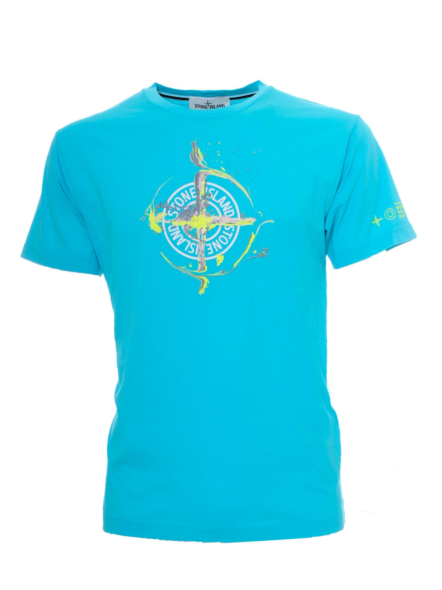 STONE ISLAND FRONT BRANDED T-SHIRT IN TURQUOISE