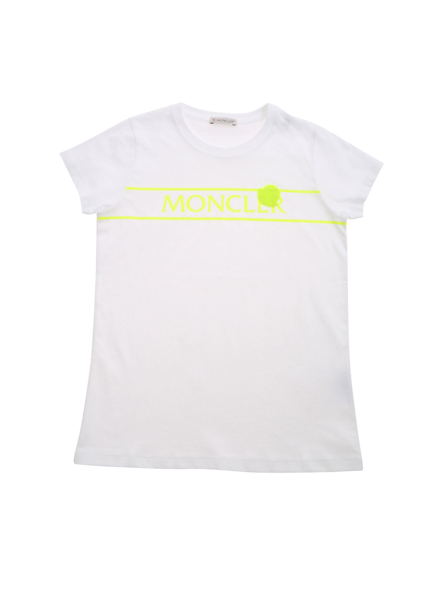 Moncler Jr FLUO LOGO T-SHIRT IN WHITE