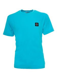 Stone Island - Logo patch T-shirt with in turquoise