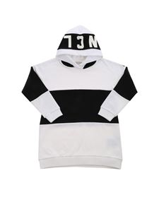 Moncler Jr - Maxi striped sweatshirt in black and white