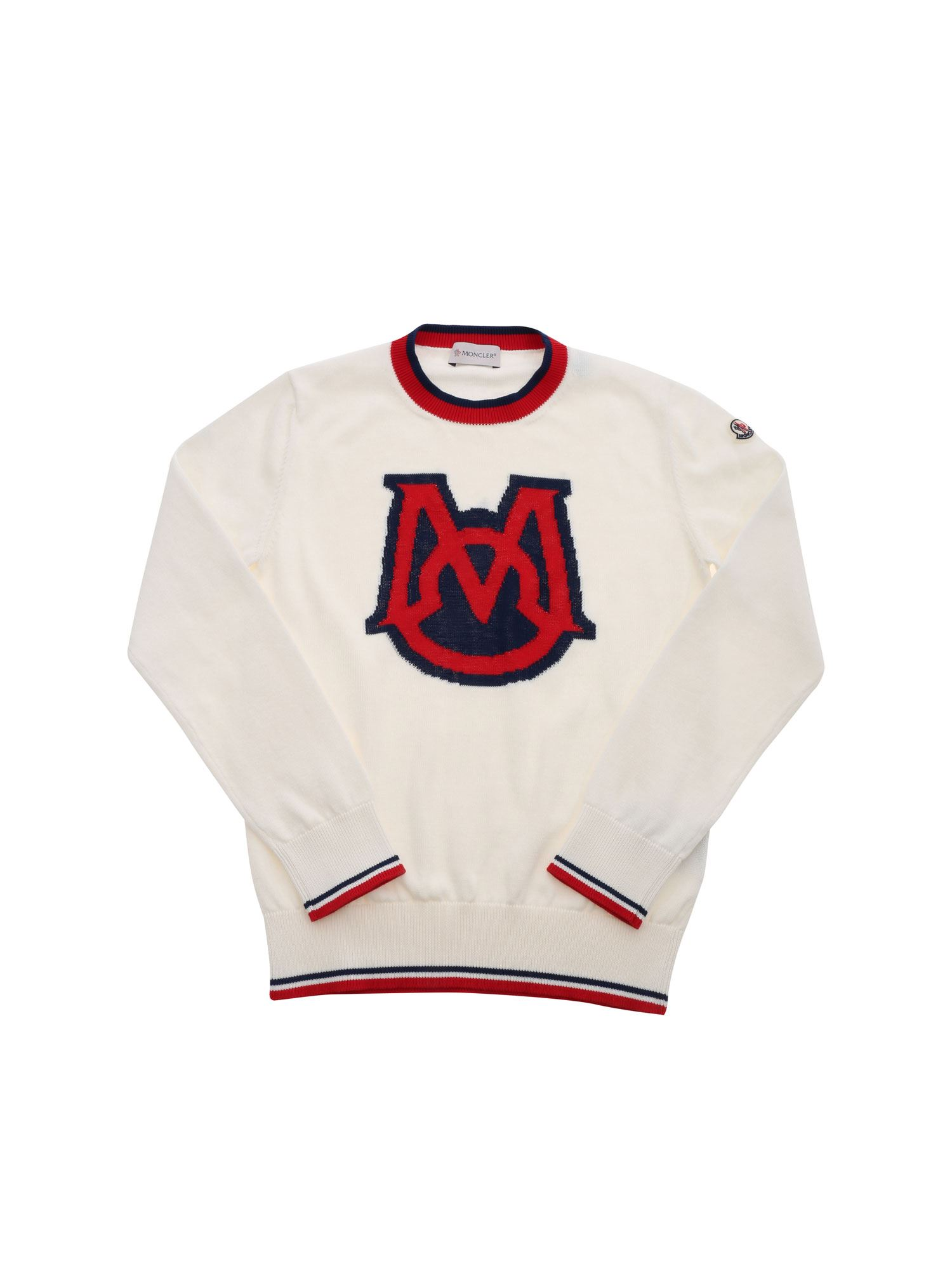 Moncler Jr M INLAY PULLOVER IN IVORY