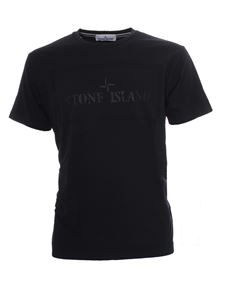 Stone Island - Front-back logo T-shirt in blue