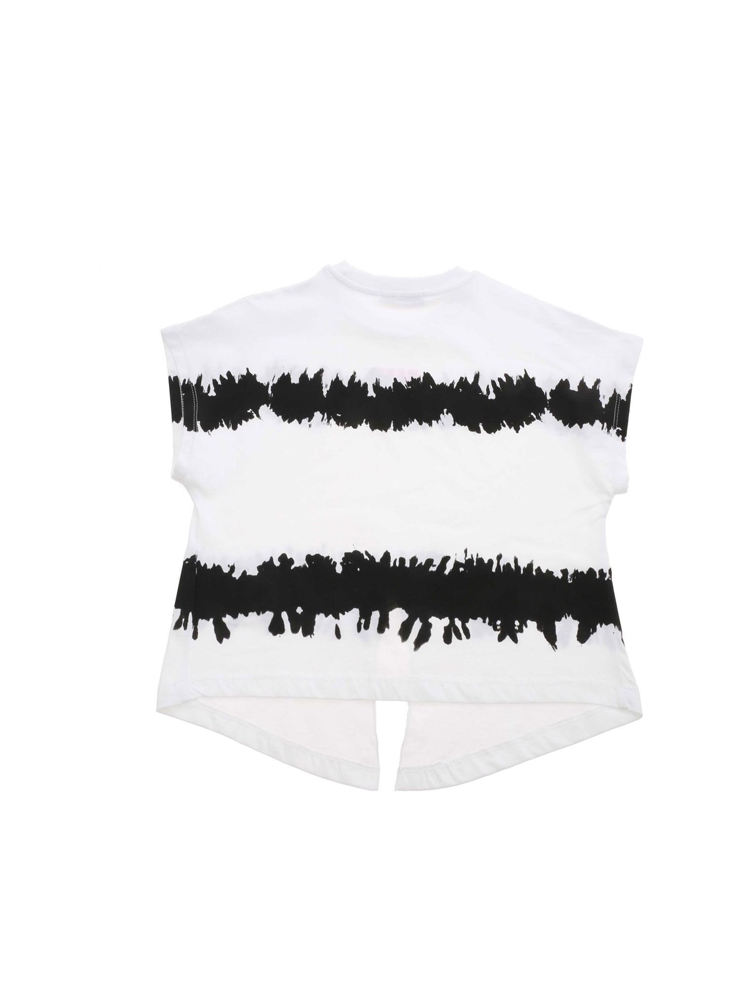 MSGM T-shirts CUT-OUT T-SHIRT IN WHITE AND BLACK