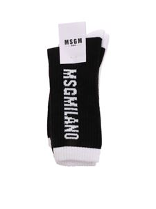 MSGM Kids - Branded terry socks in black and white
