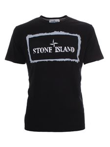 Stone Island - Front-back logo T-shirt in black