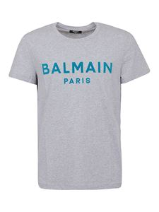 Balmain - Velvet logo T-shirt in grey