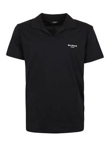 Balmain - Flocked logo polo shirt in black