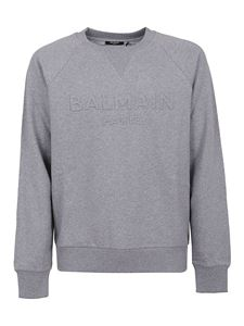 Balmain - Logo embossed sweatshirt in grey