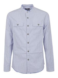 Balmain - Striped cotton shirt in light blue